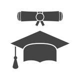 O tampão e o diploma da graduação enrolam a ilustração do vetor do ícone no fl ilustração do vetor