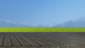 O tampo da mesa de madeira no campo verde 3D rende Fotos de Stock