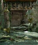 O tanque do jacaré mantém-se por favor para fora ilustração royalty free