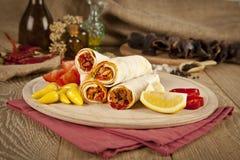 O tantuni da carne da carne é um tipo do kebap turco tradicional Fotos de Stock
