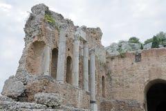 O teatro antigo de Taormina Imagens de Stock