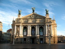 O teatro da ópera no centro de Lviv Foto de Stock Royalty Free