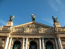 O teatro da ópera no centro de Lviv Fotos de Stock Royalty Free