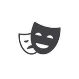 O teatro mascara o vetor do ícone, sinal liso enchido, pictograma contínuo isolado no branco ilustração royalty free