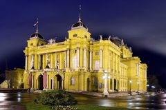O teatro nacional croata Fotografia de Stock
