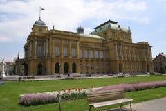 O teatro nacional croata em Zagreb Fotografia de Stock Royalty Free