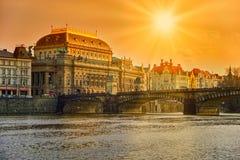 O teatro nacional em Praga Imagens de Stock