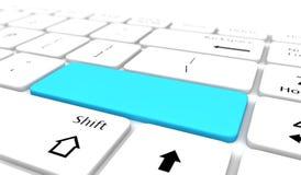 O teclado com placa azul entra no botão Foto de Stock