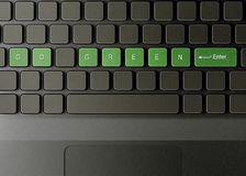 O teclado com vai tecla verde Fotos de Stock