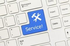 O teclado conceptual branco - preste serviços de manutenção (a chave azul) Imagem de Stock Royalty Free