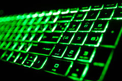 o teclado de computador fluorescente verde Imagens de Stock Royalty Free
