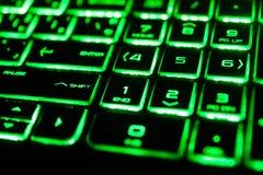 o teclado de computador fluorescente verde Imagem de Stock