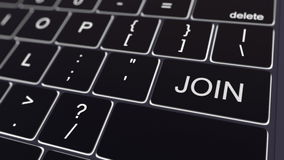 O teclado de computador preto e a incandescência juntam-se à chave Rendição 3d conceptual Fotografia de Stock