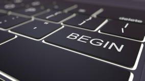 O teclado de computador preto e luminosos modernos começam a chave rendição 3d Imagens de Stock