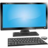 O teclado do monitor do computador do computador de secretária etiqueta o rato Imagens de Stock