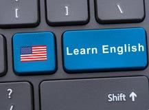 O teclado do portátil com aprende o botão inglês imagens de stock