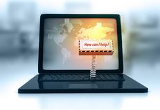 O teclado do portátil com chave como posso eu ajuda Imagens de Stock