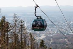 O teleférico de Sakhalin, pode 2016 Fotografia de Stock