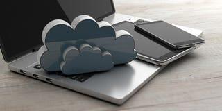 O telefone celular, a tabuleta e o computador com um armazenamento nublam-se no fundo de madeira ilustração 3D Imagem de Stock