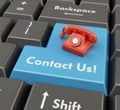 telefone 3d retro no botão azul - conceito do suporte laboral Fotografia de Stock Royalty Free