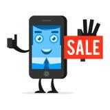 O telefone do caráter anuncia a venda Foto de Stock