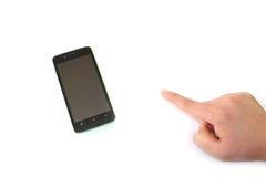 O telefone e o homem espertos entregam o gesto bem escolhido #2 imagem de stock royalty free