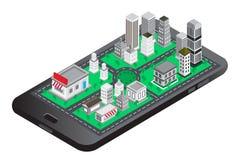 O telefone esperto com modren a construção inteligente da construção isométrica da cidade da perspectiva ilustração do vetor