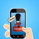 O telefone esperto traduz o conceito Imagens de Stock