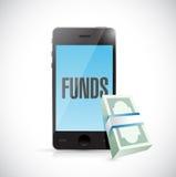 o telefone financia o conceito em linha do dinheiro Fotografia de Stock