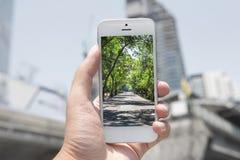 O telefone móvel, esperto com imagem da natureza e a cidade no fundo, móbil da natureza ajustaram 1 fotografia de stock royalty free