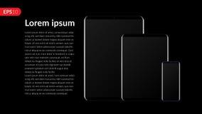O telefone, tablet pc, móbil, ajustou a composição do modelo isolada no fundo preto com tela vazia Vetor realístico da vista dian Foto de Stock Royalty Free