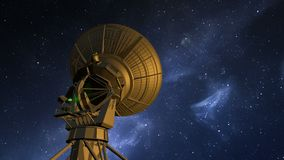 O telescópio de rádio explora o céu noturno vídeos de arquivo