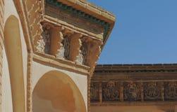 O telhado barroco projeta com arte muçulmana no palácio de Kashan Fotos de Stock Royalty Free