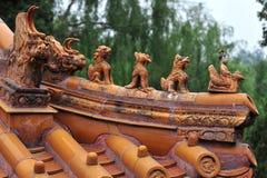 O telhado da arcada memorável no parque de Beihai do Pequim. Fotos de Stock Royalty Free