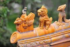 O telhado da arcada memorável no parque de Beihai do Pequim. Fotografia de Stock