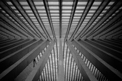O telhado da estação de trem de Liège-Guillemins Foto de Stock