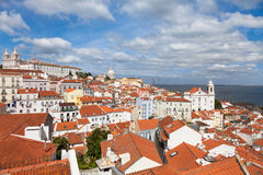 O telhado de Lisboa de Portas faz o ponto de vista do solenoide - Miradouro em Portu Foto de Stock