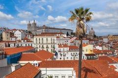 O telhado de Lisboa de Portas faz o ponto de vista do solenoide - Miradouro em Portu Imagens de Stock