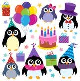 O tema dos pinguins do partido ajustou 1 Imagem de Stock