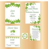 O tema natural rústico da folha do convite do casamento, salvar o molde da data ilustração do vetor