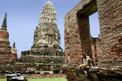 O templo de Ayuthaya arruina Tailândia Fotografia de Stock Royalty Free