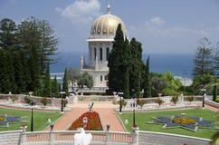 O templo de Bahai em Haifa, Israel Fotos de Stock Royalty Free