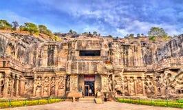 O templo de Kailasa, o templo o mais grande em Ellora Caves Local do patrimônio mundial do UNESCO no Maharashtra, Índia imagem de stock royalty free