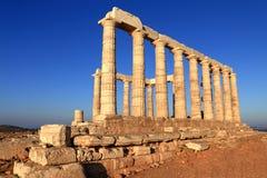 O templo de Poseidon, cabo Sounion, Grécia Imagem de Stock Royalty Free
