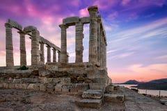 O templo de Poseidon em Sounion, Grécia Foto de Stock Royalty Free