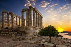 O templo de Poseidon localizou em Sounion, Attica, Grécia Imagem de Stock
