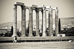 O templo do Zeus do olímpico, Atenas Foto de Stock