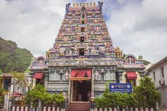 O templo em Victoria, a capital da ilha de Mahe, o único templo hindu de Arul Mihu Navasakthi Vinayagar em Seychelles fotos de stock royalty free