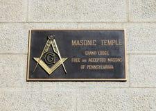 O templo maçônico assina dentro Philadelphfia Fotografia de Stock Royalty Free