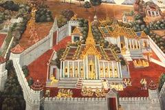 O templo que pinta Banguecoque Tailândia ramakien Fotografia de Stock Royalty Free